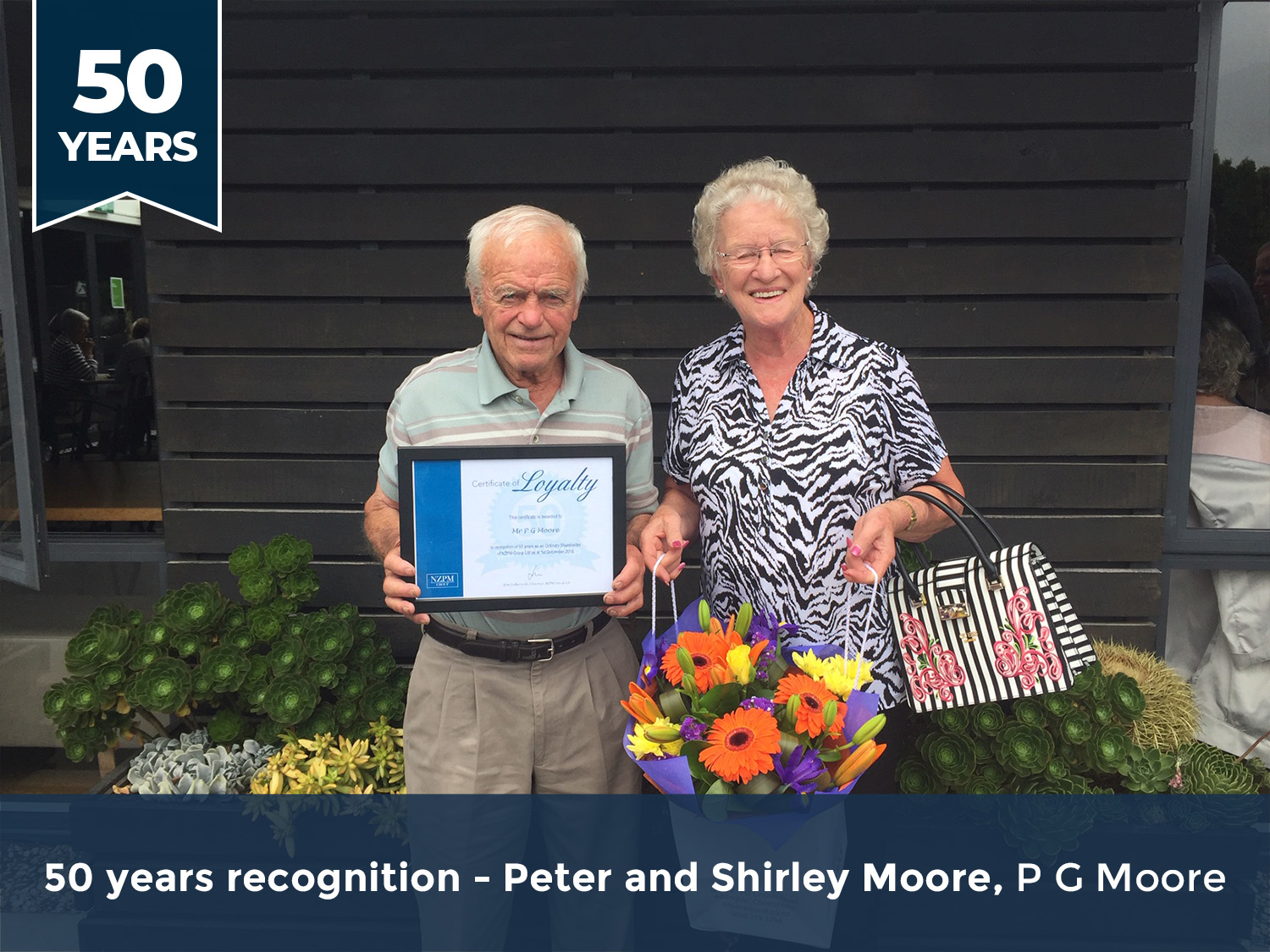 P G Moore 50 year recognition