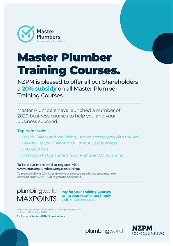 NZPM Shareholder Offer Master Plumbers Courses Feb 2020